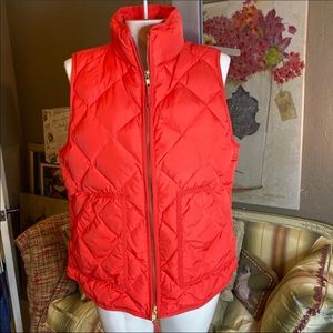 J. Crew Red Quilted Down Excursion Puffer Vest M